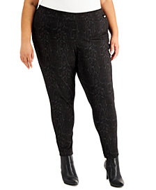 Calvin Klein Plus Size Snake-Embossed Compression Pants