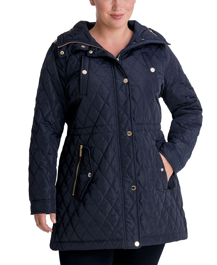 Michael Kors - Plus Size Hooded Quilted Anorak Coat