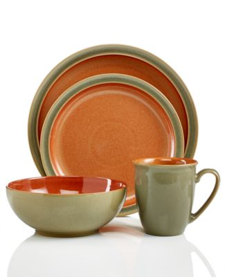 Denby Dinnerware, Duets Sage and Paprika 4 Piece Place Setting