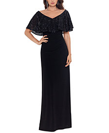 Betsy & Adam Sequinned-Overlay Gown