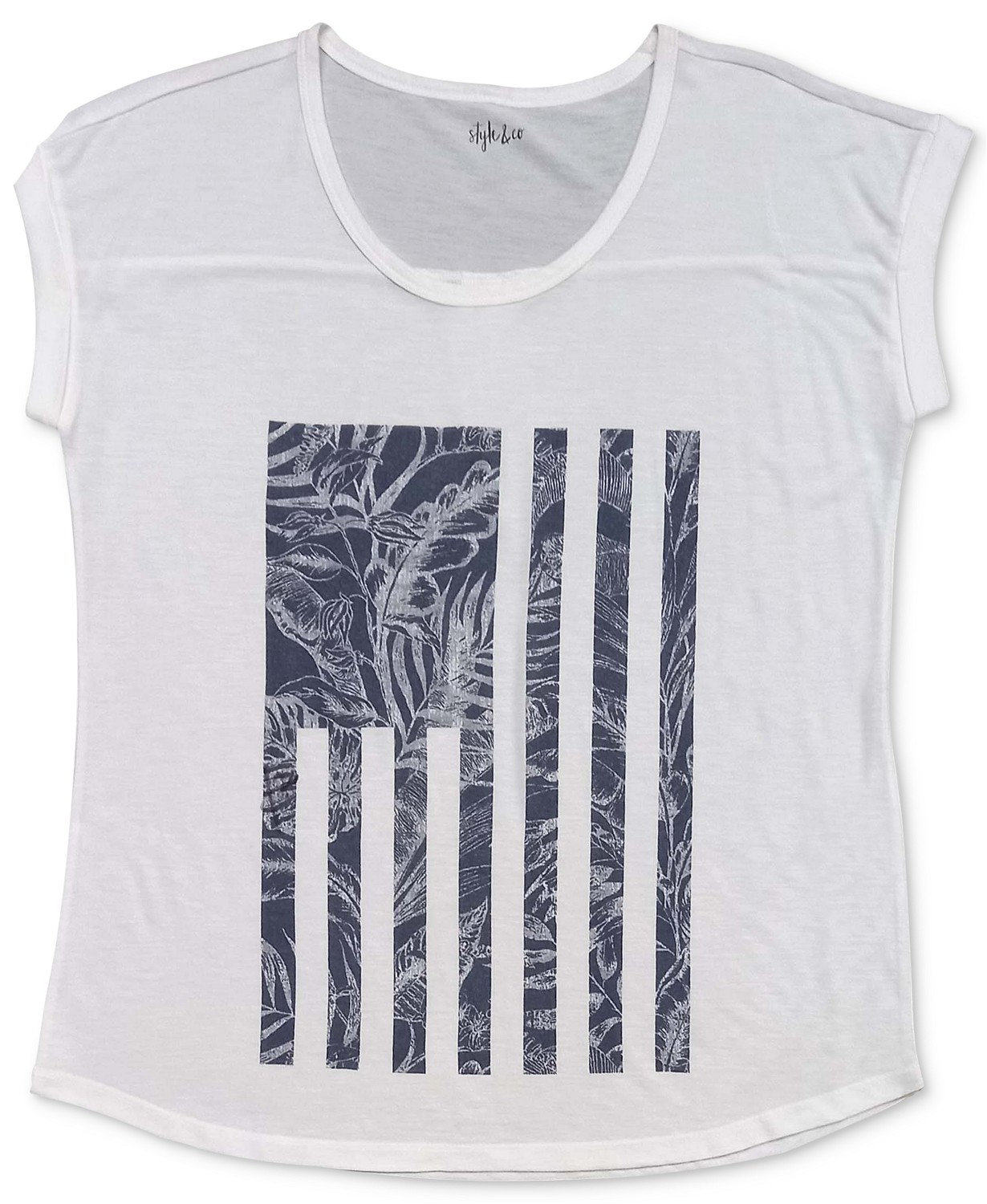 Style & Co Tropical Flag Graphic T-Shirt