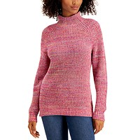 Deals on Style & Co Womens Cotton Mock-Neck Sweater