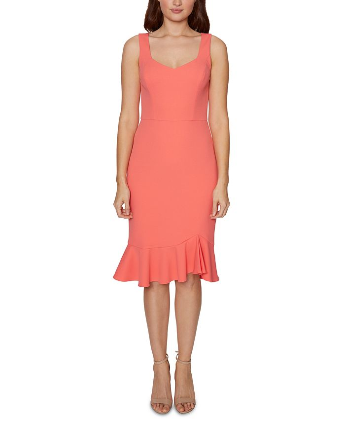 Betsey Johnson - Sweetheart-Neck Flounce-Hem Midi Dress