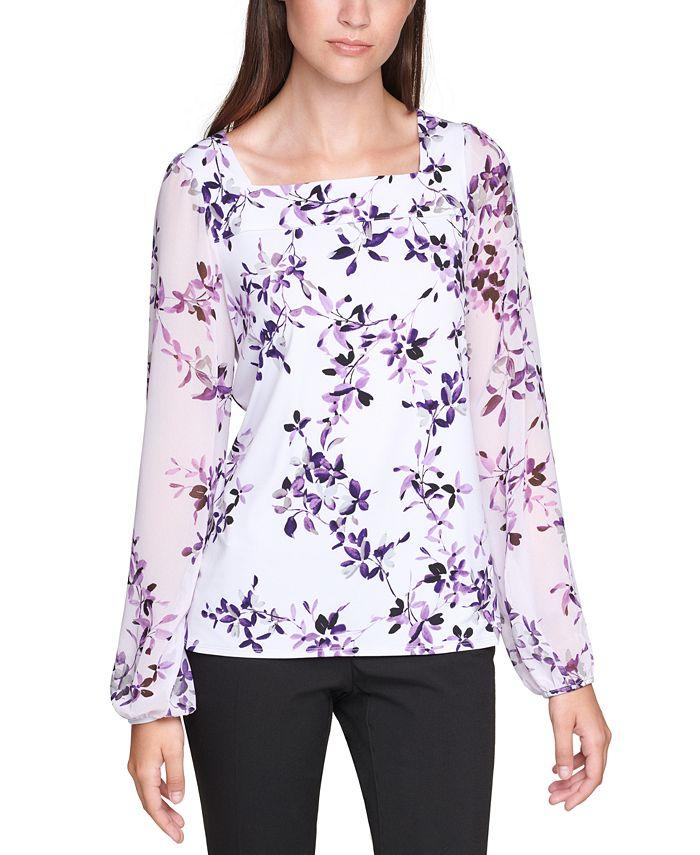 Calvin Klein - Plus Size Printed Chiffon-Sleeve Top