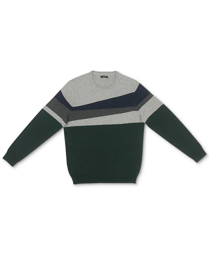 Alfani - Men's Blocked Crewneck Cotton Sweater
