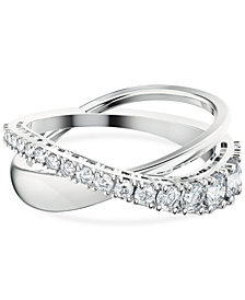 Swarovski Silver-Tone Crystal Twist Double-Row Ring