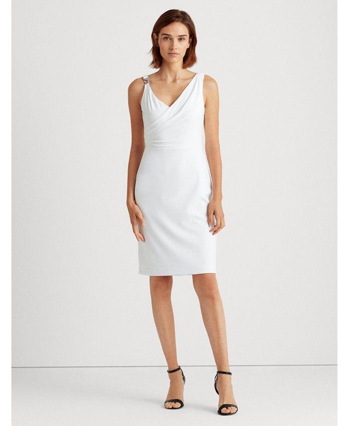 Lauren Ralph Lauren - Embellished Surplice Jersey Cocktail Dress