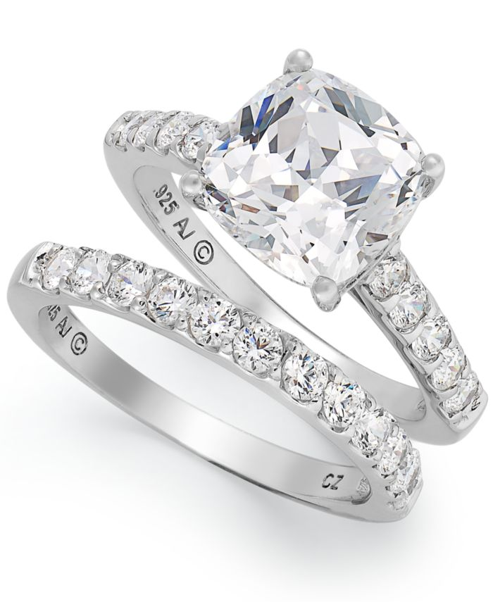 Arabella Sterling Silver Ring Set, Swarovski Zirconia Bridal Ring and Band Set (8 ct. t.w.)  & Reviews - Rings - Jewelry & Watches - Macy's