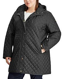 Lauren Ralph Lauren Plus-Size Quilted Hooded Jacket, Created for Macy's