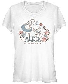 Fifth Sun Women's Alice in Wonderland Alice and Rabbit Short Sleeve T-shirt