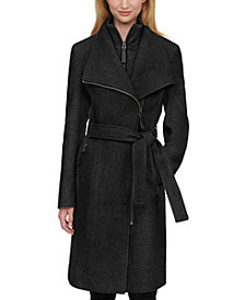 Calvin Klein Faux-Leather Trim Belted Wrap Coat, Created for Macy's