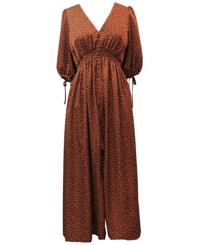 Taylor Dotted Satin Smocked-Waist Maxi Dress & Reviews - Dresses - Women - Macy's