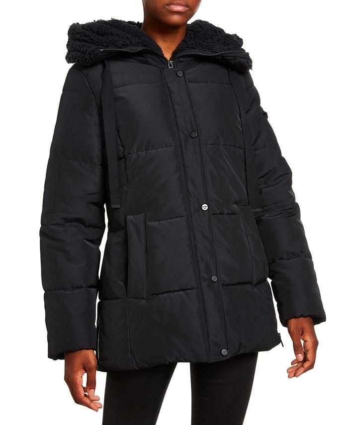 Madden Girl - Juniors' Faux-Fur Trim Hooded Puffer Coat