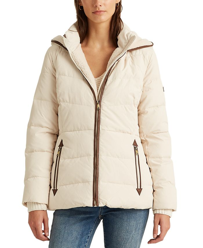 Lauren Ralph Lauren - Faux Leather–Trim Down Coat