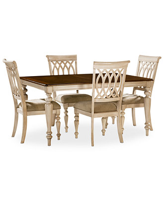 Dovewood dining room furniture 5 piece set table and 4 for Macys dining room chairs