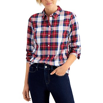 Charter Club Cotton Plaid Shirt, Regular & Petite