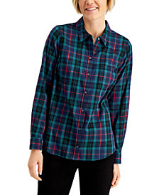 Charter Club Plaid Cotton Shirt, Created for Macy's