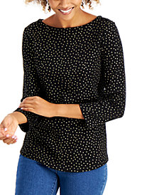 Charter Club Cotton Metallic-Dot 3/4-Sleeve Top, Created for Macy's