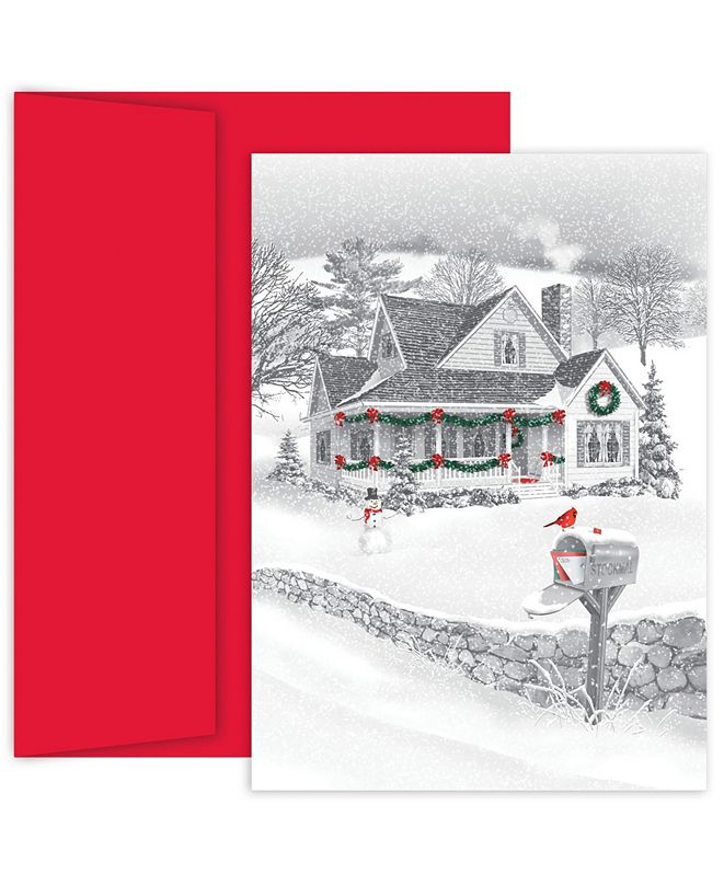 Masterpiece Cards Pencil Sketch Winter Scene Holiday Boxed Cards, 18 Cards and 18 Envelopes