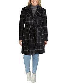 Jones New York Plus Size Single-Breasted Notch-Collar Coat