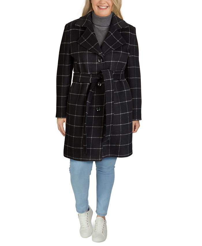 Jones New York - Plus Size Single-Breasted Notch-Collar Coat