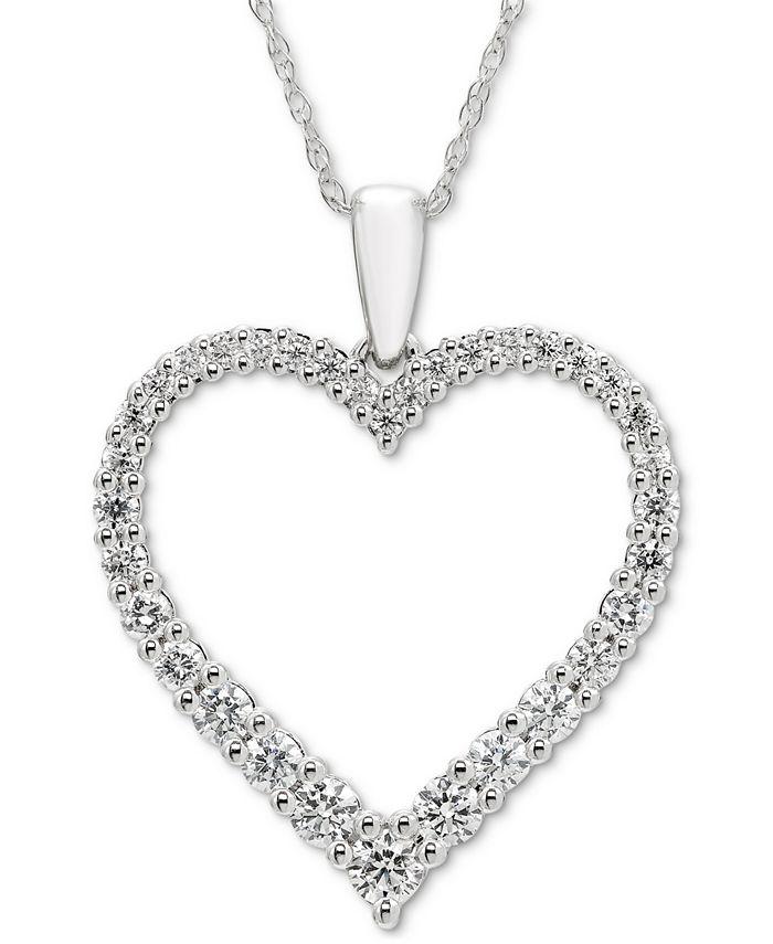 "Macy's - Diamond Open Heart 18"" Pendant Necklace (1/2 ct. t.w.) in 14k White Gold"