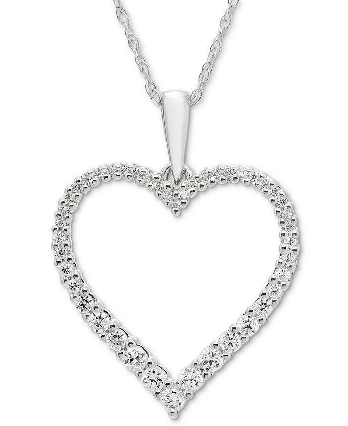 Macy's - Diamond Open Heart Pendant Necklace (1/4 ct. t.w.) in 14k White Gold