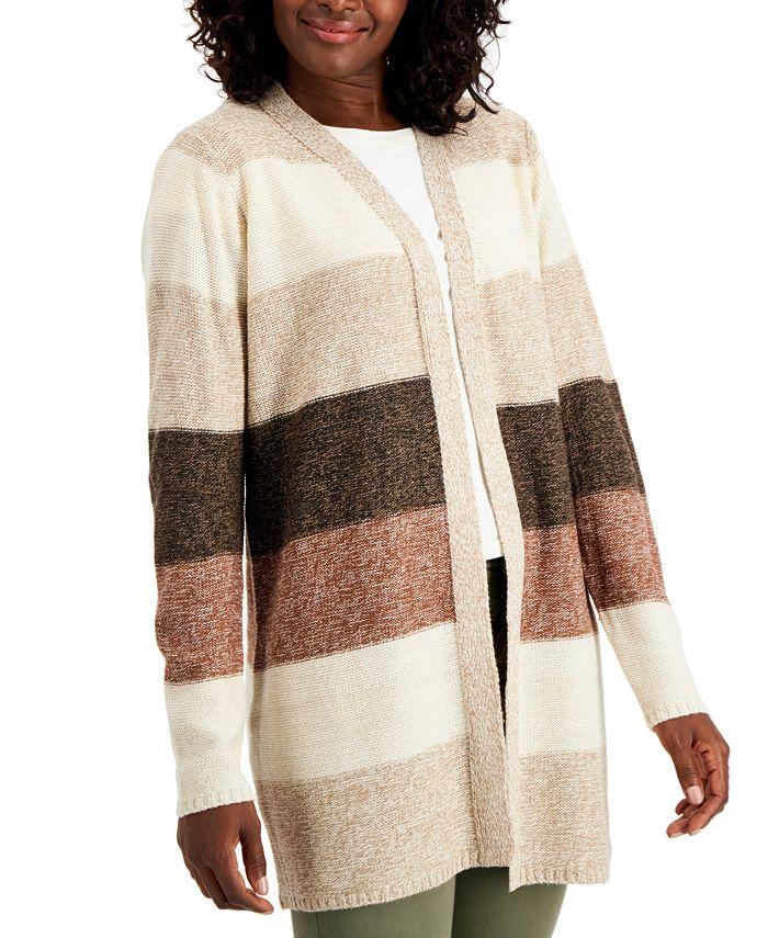 Karen Scott - Plus Size Colorblocked Open-Front Cardigan