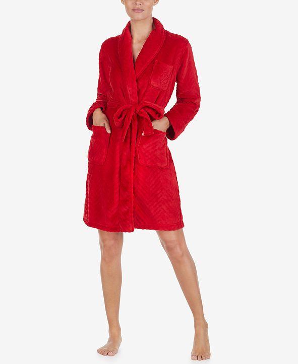 Lauren Ralph Lauren Plush Herringbone Wrap Robe
