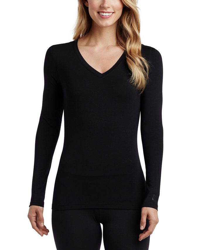 Cuddl Duds - Softwear With Stretch Long-Sleeve V-Neck Top