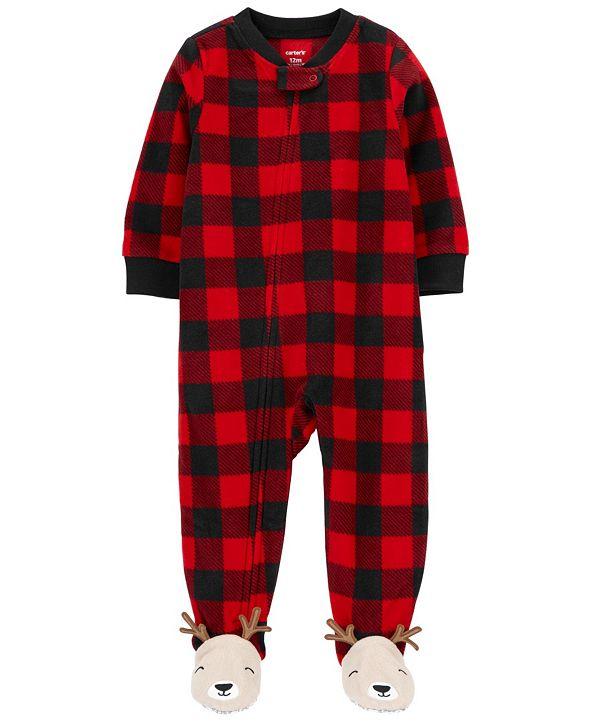 Carter's Baby Boy or Girl 1-Piece Buffalo Check Fleece Footie PJs