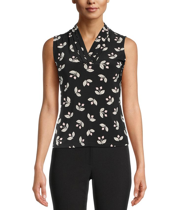 Anne Klein - Printed Pleated-V-Neck Top