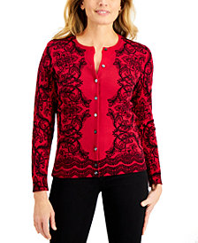 Karen Scott Scroll Delight Button Cardigan, Created for Macy's