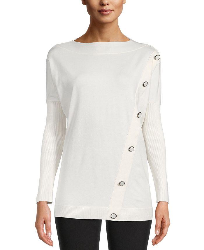 Anne Klein - Asymmetrical-Button Pullover Sweater