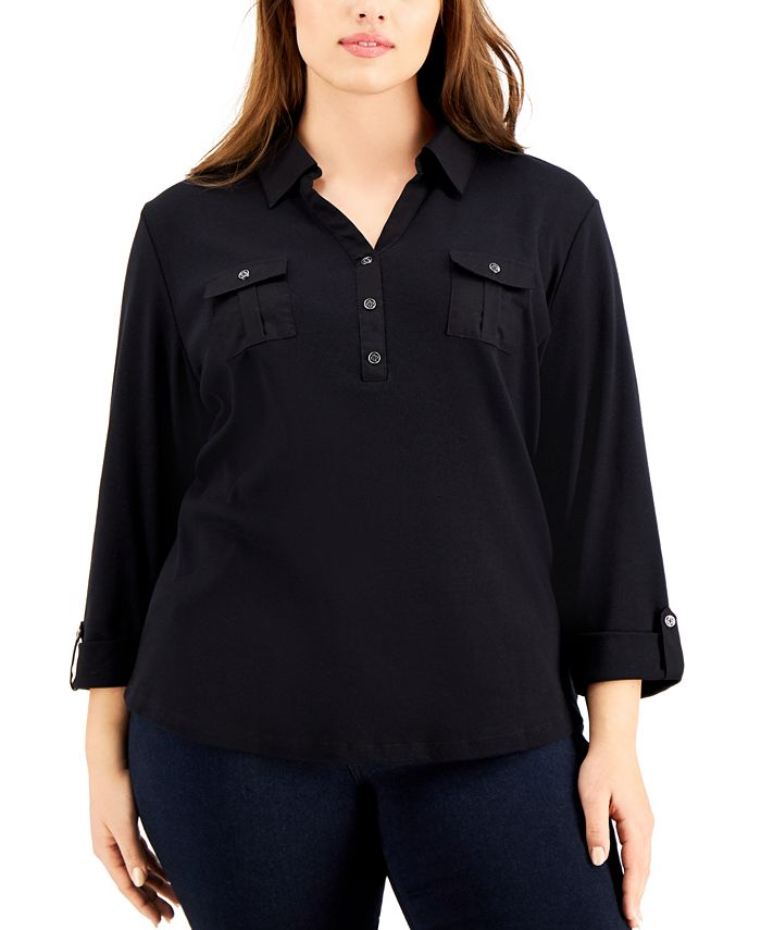 Karen Scott - Plus Size Solid V-Neck Woven Top