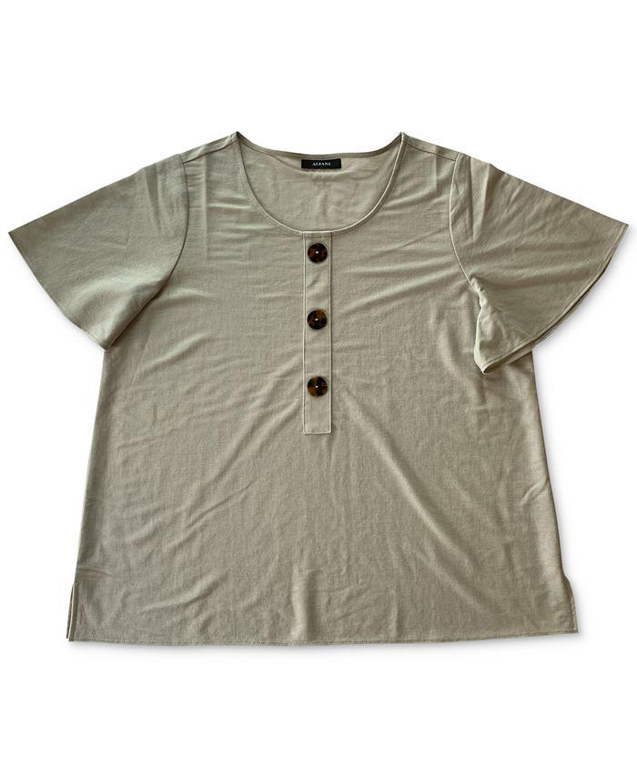 Alfani - Plus Size Flutter-Sleeve Top