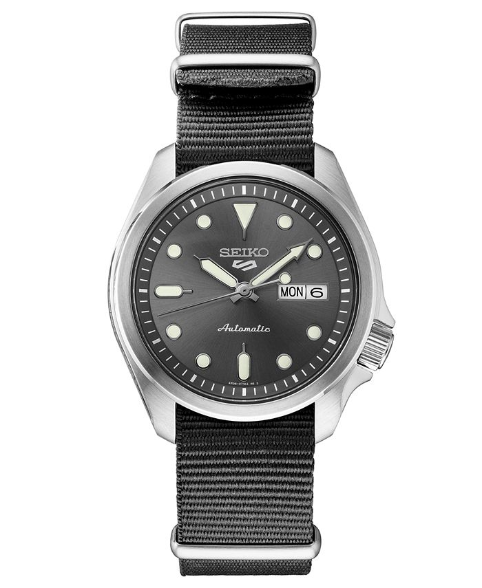 Seiko - Men's Automatic 5 Sports Gray Nylon Strap Watch 40mm