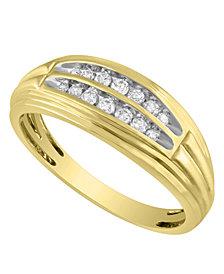 Men's Diamond (1/4 ct. t.w.) Ring in 10K White or Yellow Gold
