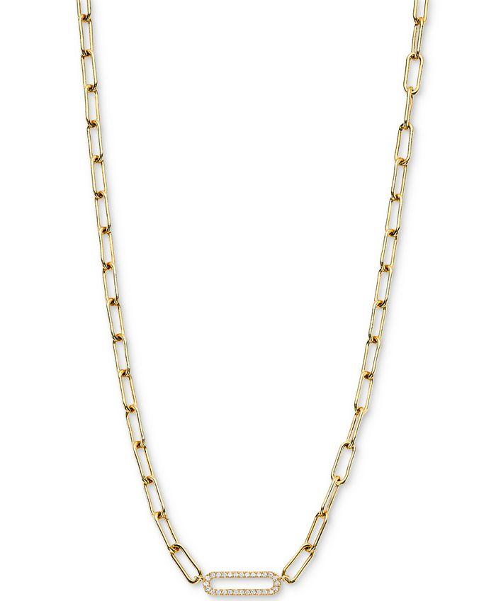 "AVA NADRI - Cubic Zirconia Oval Link Collar Necklace, 16"" + 2"" extender"