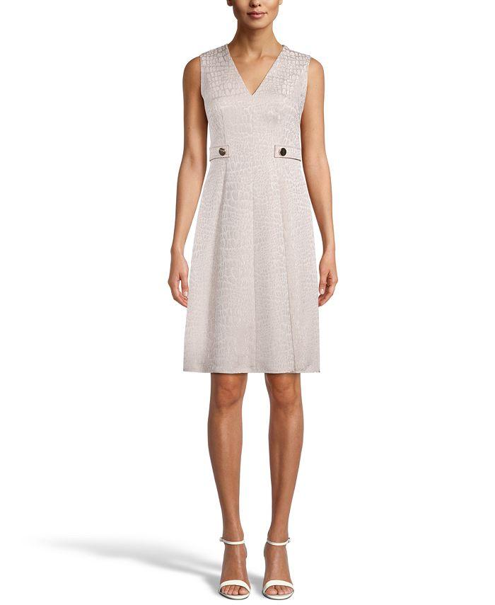 Anne Klein - Banded-Waist Jacquard Dress
