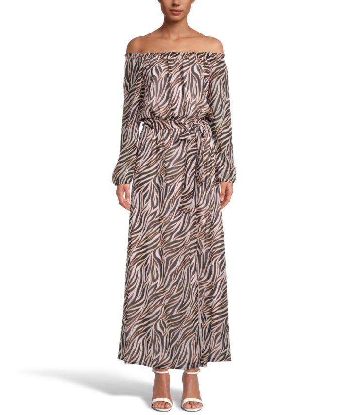 INC International Concepts INC Zebra-Print Off-The-Shoulder Maxi Dress, Created for Macy's & Reviews - Dresses - Women - Macy's