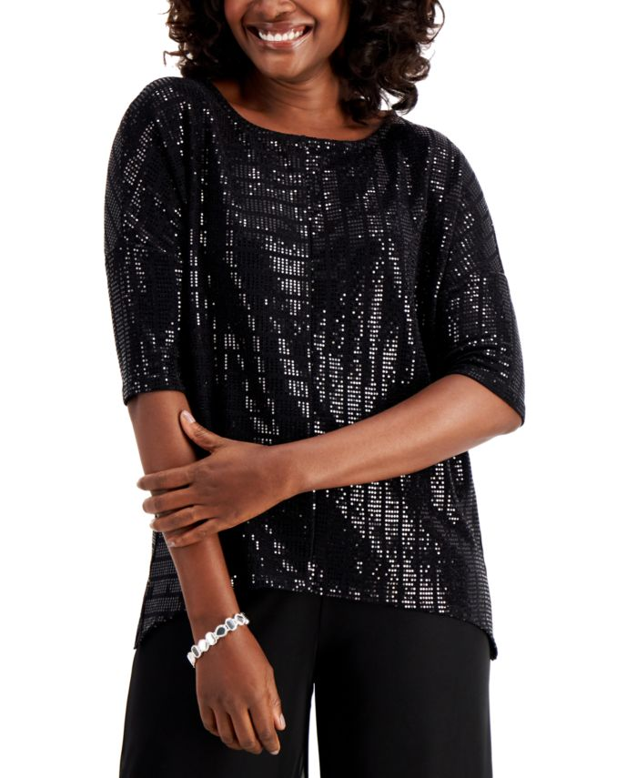 JM Collection Metallic Dolman-Sleeve Top, Created for Macy's & Reviews - Tops - Women - Macy's