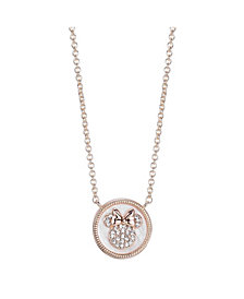 Disney Silver Rose Gold Flash Tone Minnie Mouse Mother-of-Pearl Pendant Necklace in Fine Silver Plate
