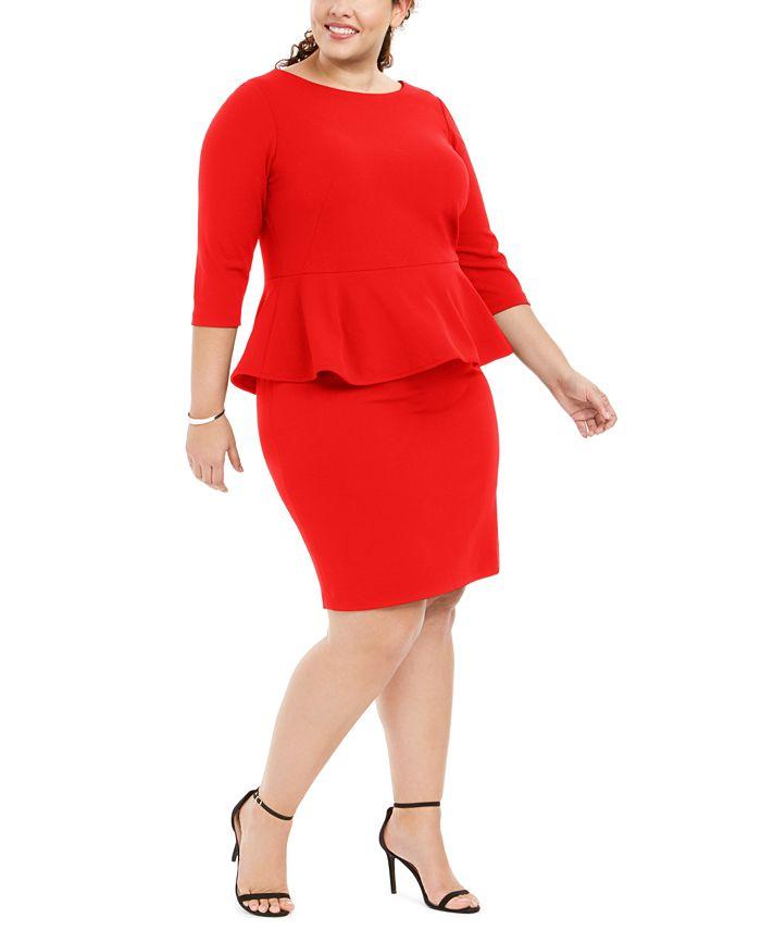 Calvin Klein - Plus Size Peplum Sheath Dress