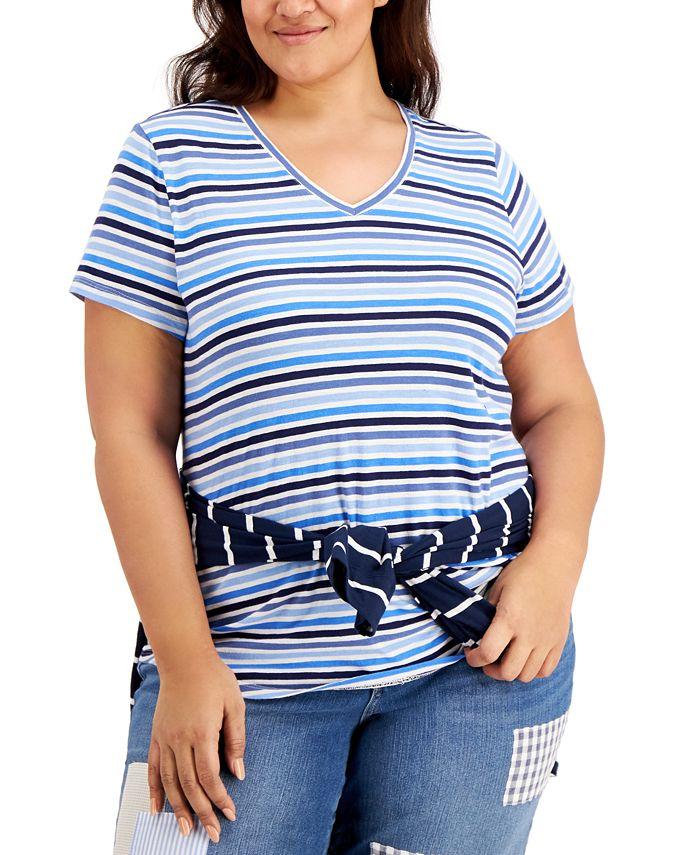 Style & Co - Plus Size Cotton Striped V-Neck T-Shirt