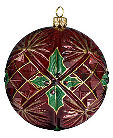 Joy to the World Glitterazzi Holly Berry Ball with Crystal Cuts Ornament
