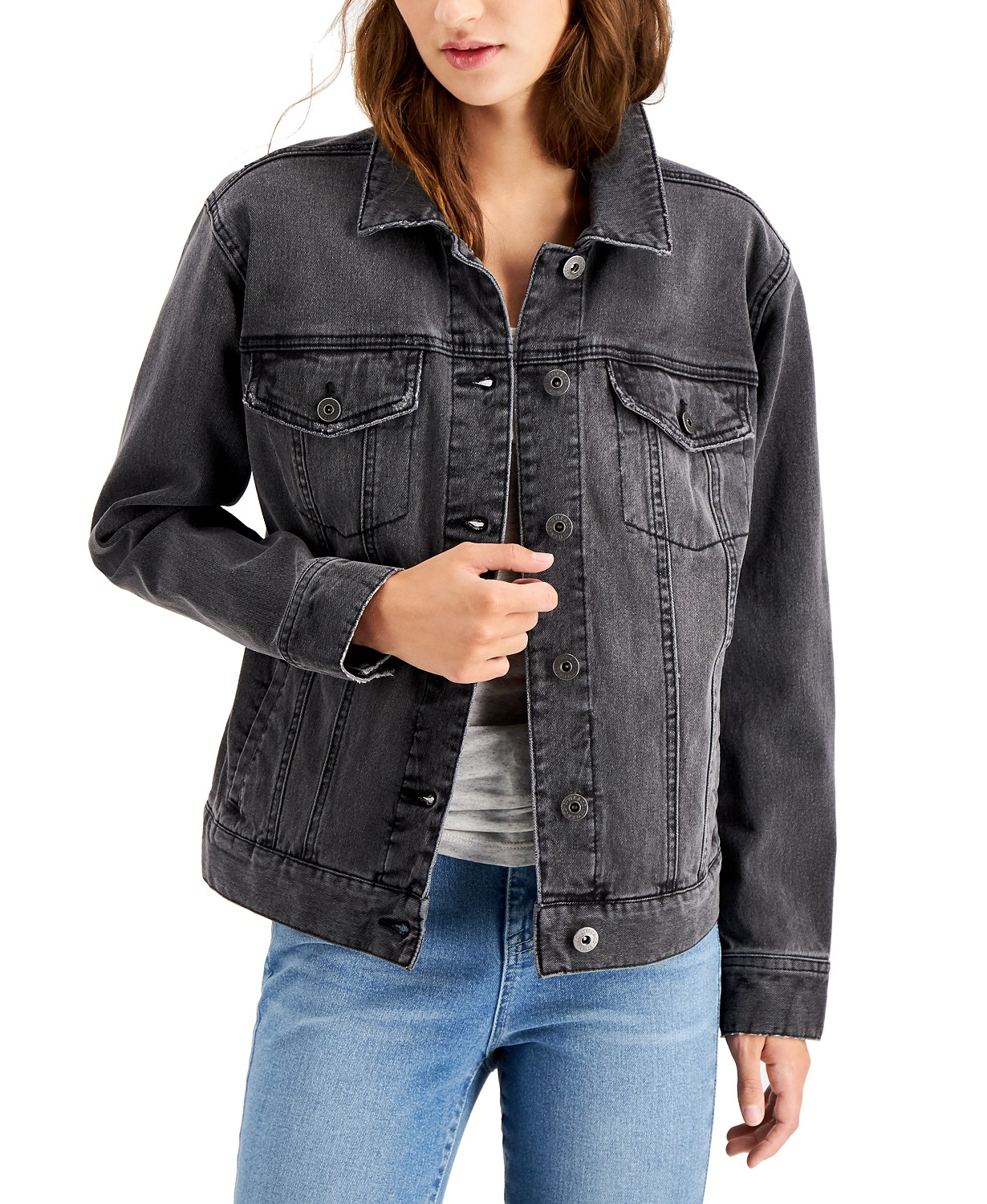 Style & Co Black Denim Trucker Jacket, Created for Macy's