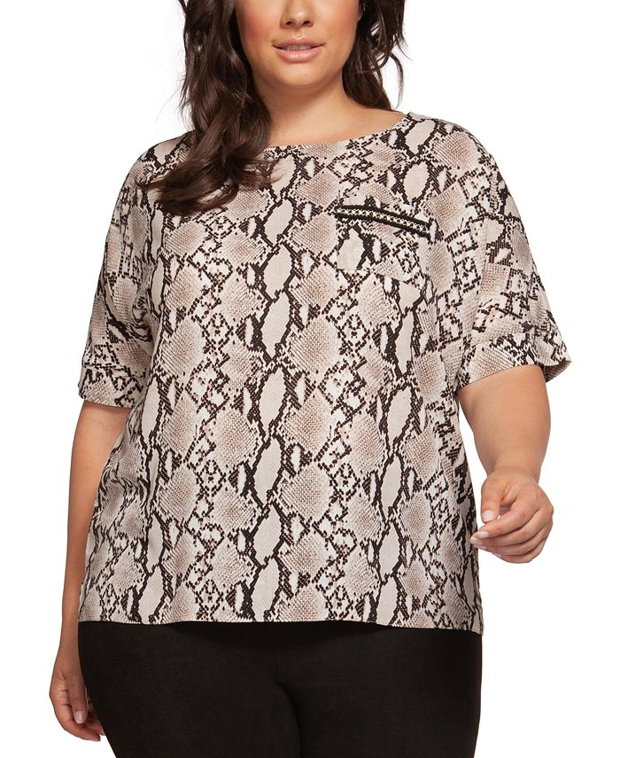 Black Tape - Plus Size Printed Keyhole-Back Top