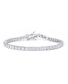 Macy's Cubic Zirconia S-Link Tennis Bracelet in Fine Silver Plate