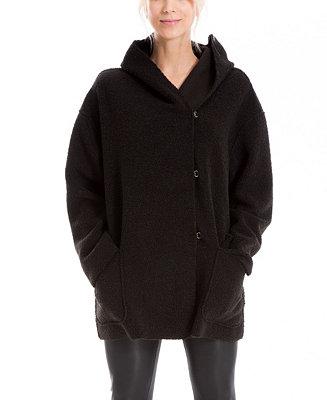 Max Studio Women's Cozy Fleece Hooded Coat